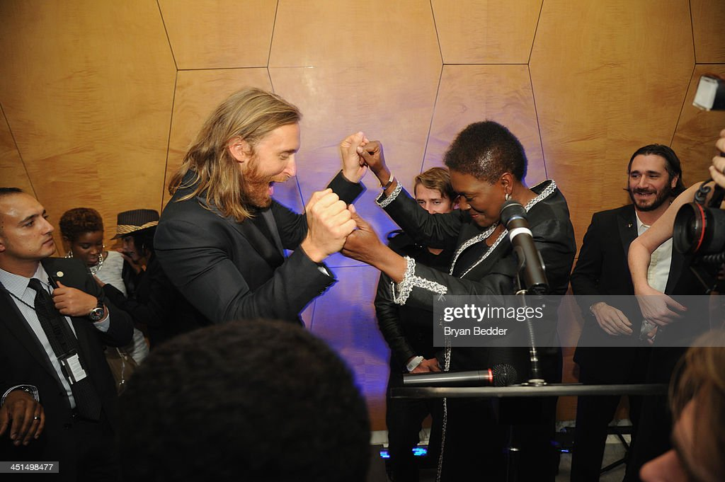 David Guetta and UN UnderSecretaryGeneral for Humanitarian Affairs and Emergency Relief Coordinator Valerie Amos onstage at the premiere of David...