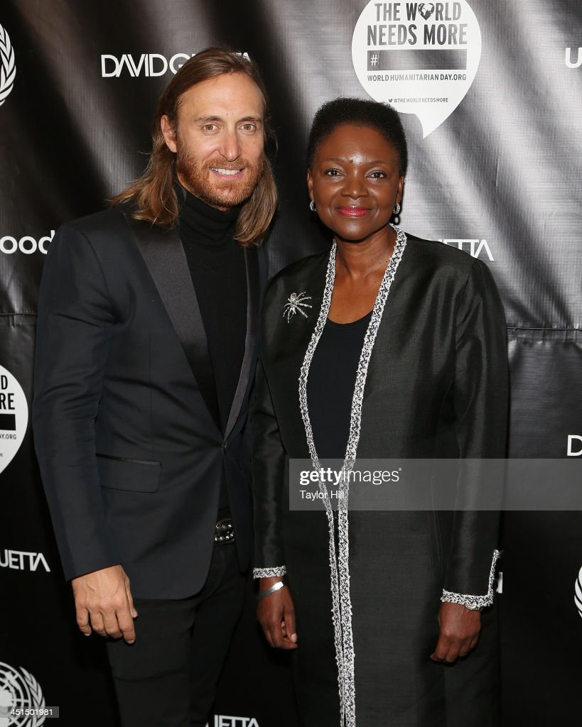 David Guetta and Valerie Amos attend the David Guetta 'One Voice' Music Video Premiere at United Nations on November 22 2013 in New York City