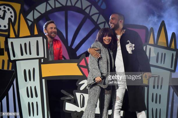David Guetta Charli XCX and French Montana perform on stage during the MTV EMAs 2017 held at The SSE Arena Wembley on November 12 2017 in London...