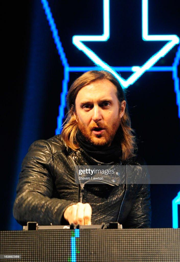 David Guetta performs at 'Beyond Wonderland 2013' at San Manuel Amphitheater on March 16 2013 in San Bernardino California