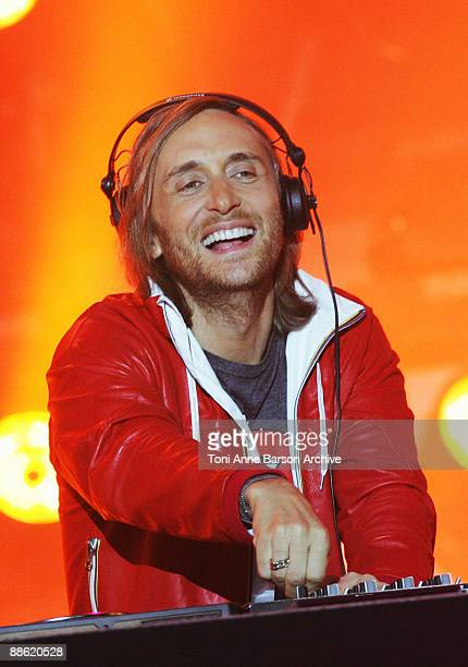David Guetta performs at the France 2 Live Show ' Fete de la Musique' in the Bagatelle Gardens on June 21 in Paris France