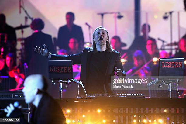 David Guetta performs during the 30th 'Victoires de la Musique' French Music Awards Ceremony at le Zenith on February 13 2015 in Paris France