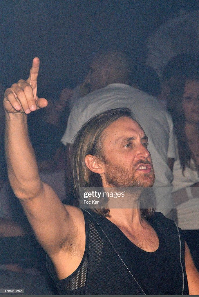 David Guetta performs during the David Guetta Party at The Gotha Club on August 3, 2013 in Saint Tropez, France.