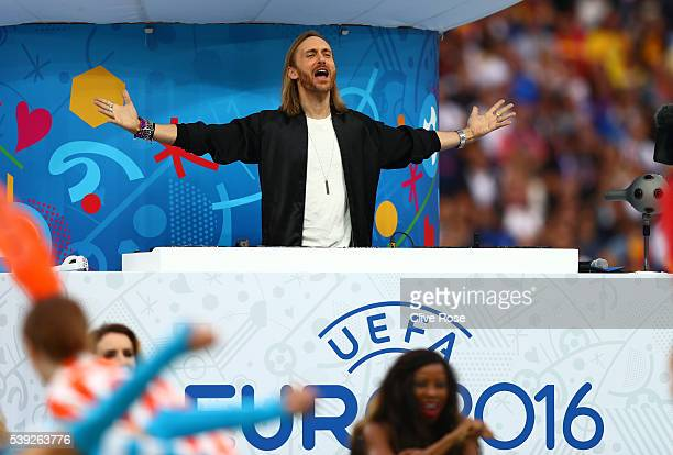 David Guetta performs during the opening ceremony during the UEFA Euro 2016 Group A match between France and Romania at Stade de France on June 10...