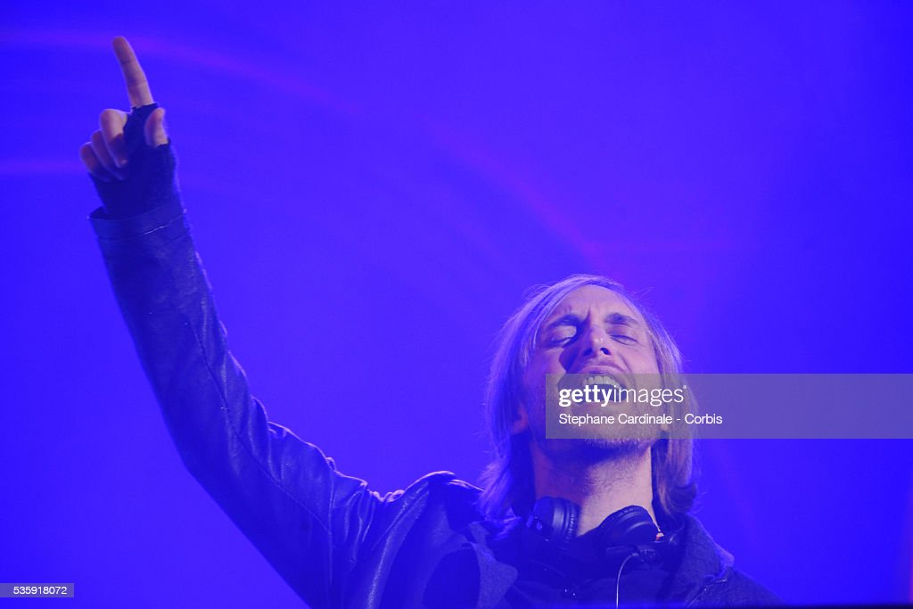 David Guetta performs during the Roberto Cavalli Celebrate 40 Party at 'Les Beaux-Arts' in Paris.