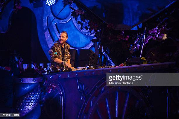David Guetta performs live on stage during the first day of the Tomorrowland music festival at Parque Maeda Itu on April 21 2016 in Sao Paulo Brazil