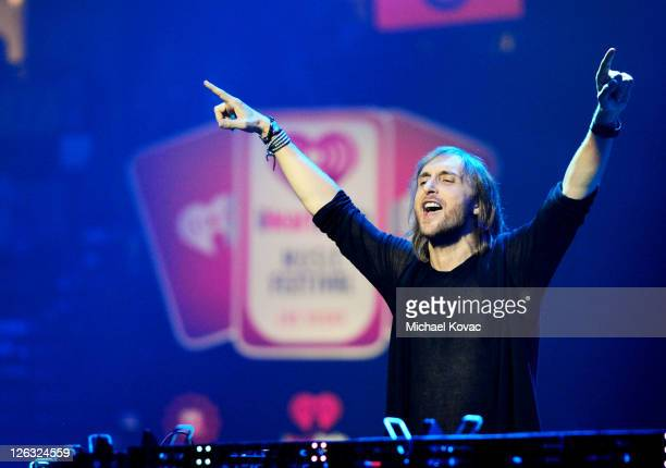 David Guetta performs onstage at the iHeartRadio Music Festival held at the MGM Grand Garden Arena on September 24 2011 in Las Vegas Nevada