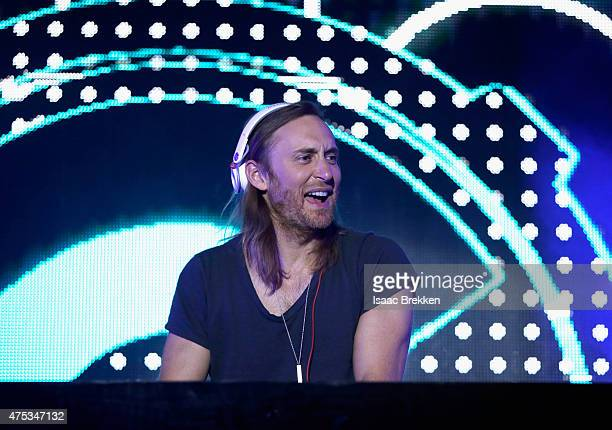 David Guetta performs onstage during The iHeartRadio Summer Pool Party at Caesars Palace on May 30 2015 in Las Vegas Nevada