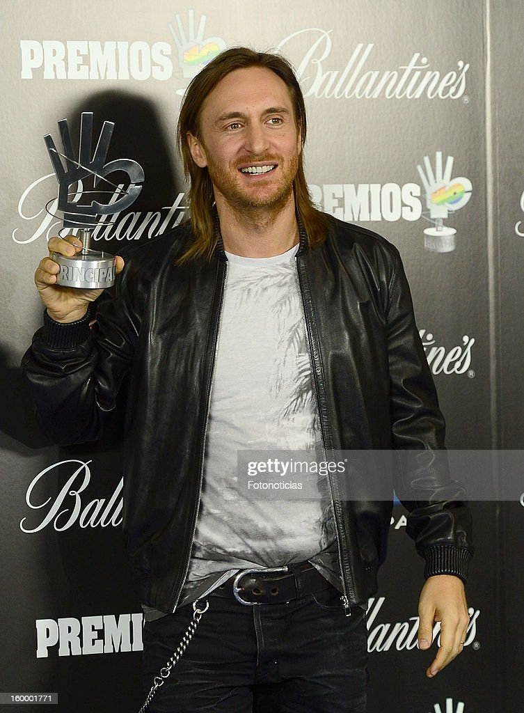 <a gi-track='captionPersonalityLinkClicked' href=/galleries/search?phrase=David+Guetta&family=editorial&specificpeople=2825542 ng-click='$event.stopPropagation()'>David Guetta</a> poses in the press room during '40 Principales Awards' 2012 at the Palacio de Deportes on January 24, 2013 in Madrid, Spain.