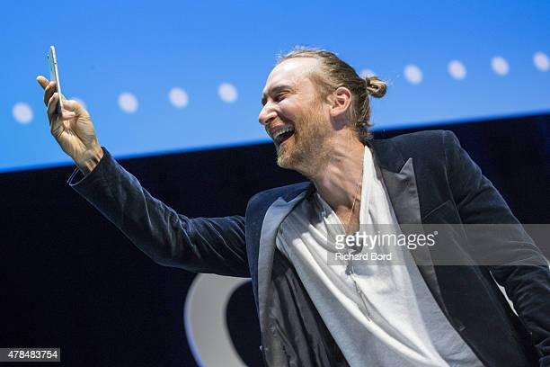 David Guetta speaks on stage during the Publicis seminar as part of the Cannes Lions International Festival of Creativity on June 25 2015 in Cannes...