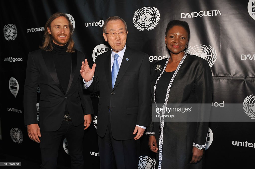 DJ David Guetta UN SecretaryGeneral Ban Kimoon and UN UnderSecretaryGeneral for Humanitarian Affairs and Emergency Relief Coordinator Valerie Amos...