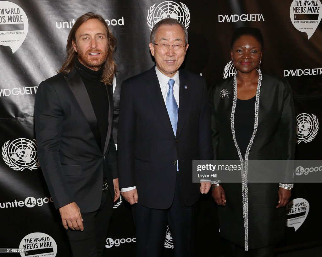 DJ David Guetta, UN Secretary-General Ban Ki-moon, and UN Under-Secretary-General for Humanitarian Affairs and Emergency Relief Coordinator Valerie Amos attend the David Guetta 'One Voice' Music Video Premiere at United Nations on November 22, 2013 in New York City.