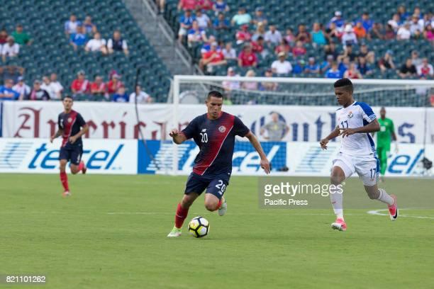 David Guzman of Costa Rica controls ball during 2017 Gold Cup quarterfinal game against Panama Costa Rica won 1 0