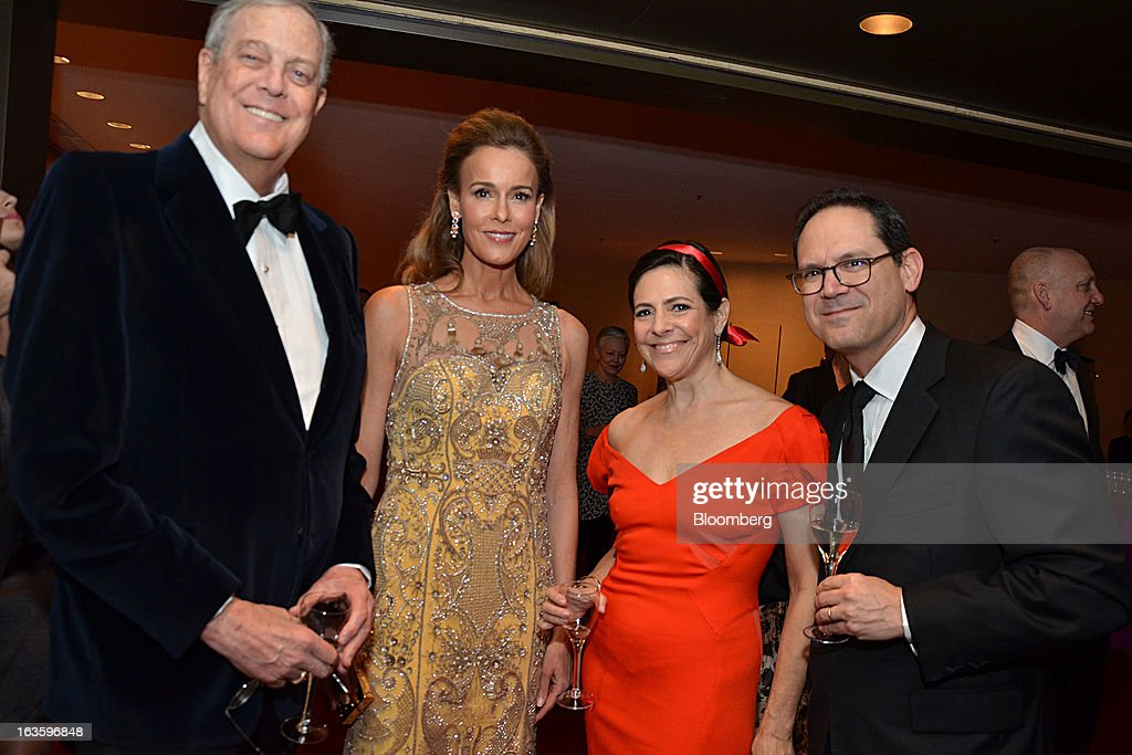 David H. Koch, executive vice president of Koch Industries Inc., from left, Julia Koch, Alexandra Lebenthal, chief executive officer, president and founder of Lebenthal & Co LLC, and Jay Diamond, managing director of Fixed Income Discount Advisory Co., attend the School of American Ballet Winter Ball at the the David H. Koch Theater in New York, U.S., on Monday, March 11, 2013. The School of American Ballet Winter Ball took place at the Lincoln Center. Photographer: Amanda Gordon/Bloomberg via Getty Images