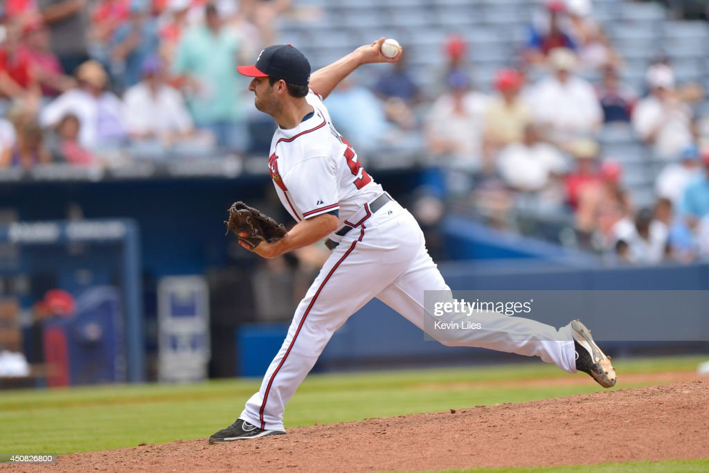 David Hale #57 of the Atlanta Braves pitches against the Philadelphia Phillies during the eighth inning at Turner Field on June 18, 2014 in Atlanta, Georgia.