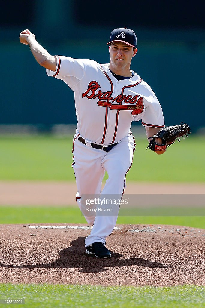 <a gi-track='captionPersonalityLinkClicked' href=/galleries/search?phrase=David+Hale+-+Baseball+Player&family=editorial&specificpeople=15090027 ng-click='$event.stopPropagation()'>David Hale</a> #57 of the Atlanta Braves throws a pitch prior to a spring training game against the Tampa Bay Rays at Champion Stadium on March 14, 2014 in Lake Buena Vista, Florida. Atlanta won the game 6-1.