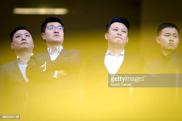 David Han Li AC Milan board member looks on prior to the Serie A football match between AC Milan and AS Roma AS Roma wins 41 over AC Milan