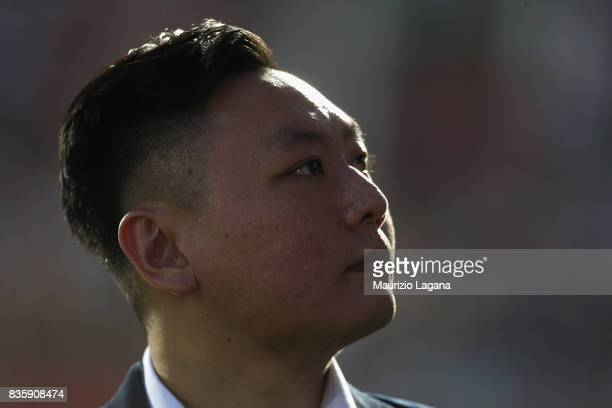 David Han Li of Milan during the Serie A match between FC Crotone and AC Milan on August 20 2017 in Crotone Italy