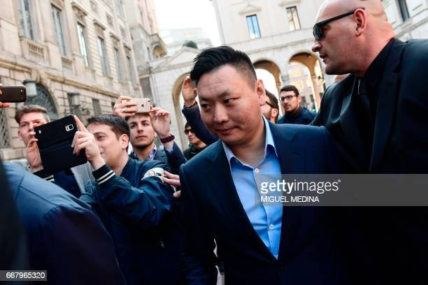 David Han Li the representative of Chinese consortium SinoEurope Sports arrives to finalize the deal with Fininvest the Silvio Berlusconi's holding...