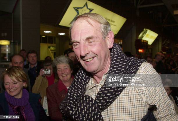 David Haplin from Haytor Devon is welcomed back home by his wife Sue and other wellwishers after he landed at Heathrow Airport outside London who put...