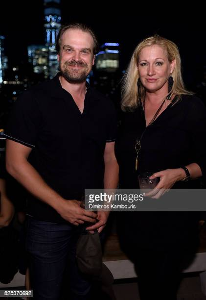 David Harbour and Amy Sacco attend the 'Fun Mom Dinner' After Party at The Jimmy at the James Hotel on August 1 2017 in New York City