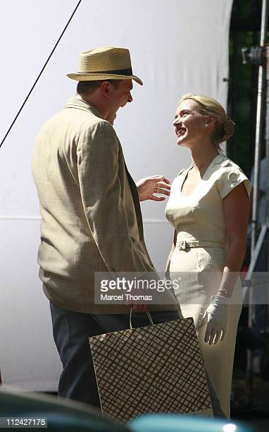 David Harbour and Kate Winslet during Kate Winslet on Set of 'Revolutionary Road' in New York City May 30 2007 at Stuyvesant Park in New York New...