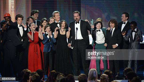 David Harbour and the Cast of 'Stranger Things' accept the award for Outstanding Performance by an Ensemble in a Drama Series onstage during the 23rd...
