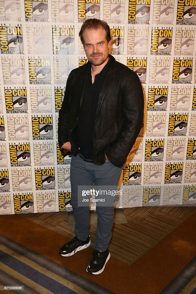 David Harbour arrives at the 'Stranger Things' press line at Comic-Con International 2017 on July 22, 2017 in San Diego, California.