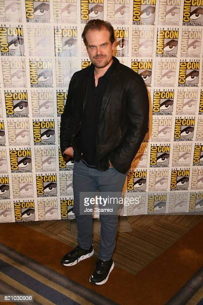 David Harbour arrives at the 'Stranger Things' press line at ComicCon International 2017 on July 22 2017 in San Diego California