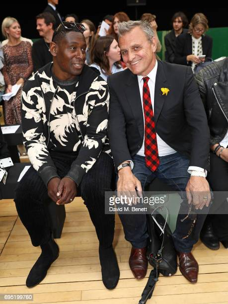 David Harewood and JeanCharles de Castelbajac attend the Vivenne Westwood SS18 show during the London Fashion Week Men's June 2017 collections on...