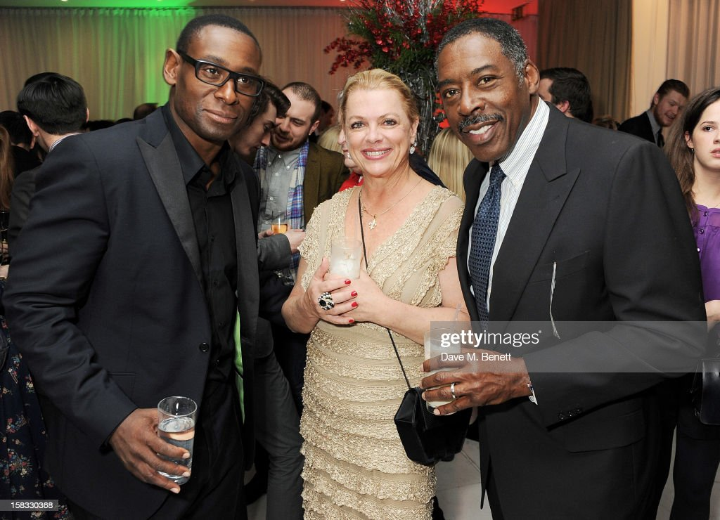 <a gi-track='captionPersonalityLinkClicked' href=/galleries/search?phrase=David+Harewood&family=editorial&specificpeople=2195239 ng-click='$event.stopPropagation()'>David Harewood</a>, Linda Hudson and <a gi-track='captionPersonalityLinkClicked' href=/galleries/search?phrase=Ernie+Hudson&family=editorial&specificpeople=241485 ng-click='$event.stopPropagation()'>Ernie Hudson</a> attend the English National Ballet Christmas Party at St Martins Lane Hotel on December 13, 2012 in London, England.