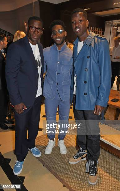 David Harewood Tinie Tempah and Jamal Edwards attend a breakfast hosted by Christopher Bailey Dame Natalie Massenet and Dylan Jones in celebration of...