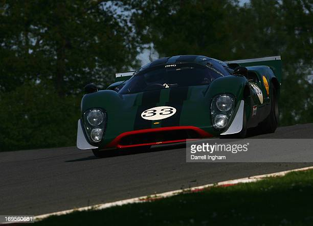 David Hart drives the Lola T70 Mk3b in the FIA Masters Historic Sports Car Championship race during the Masters Historic Festival at the Brands Hatch...