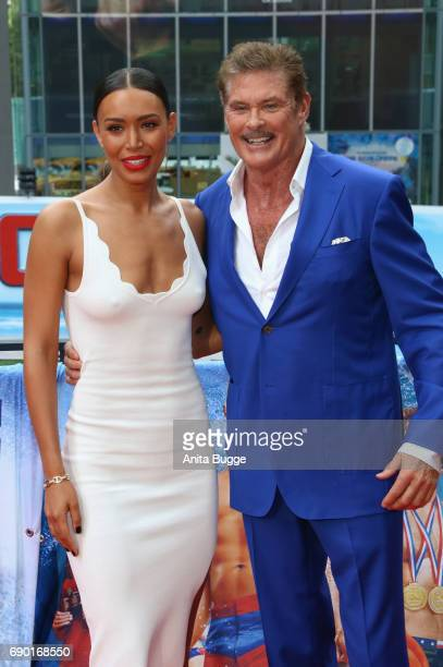 David Hasselhoff and actress Ilfenesh Hadera attend the 'Baywatch' photocall in Berlin on May 30 2017 in Berlin Germany