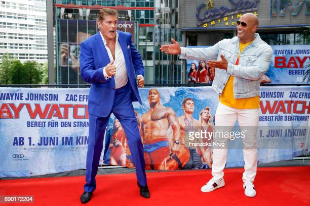 David Hasselhoff and Dwayne Johnson attend the 'Baywatch' Photo Call in Berlin on May 30 2017 in Berlin Germany