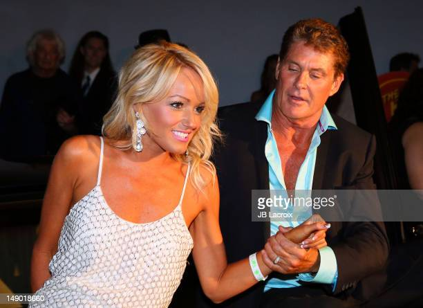 David Hasselhoff and girlfriend Hayley Roberts celebrate his 60th birthday at Greystone Manor Supperclub on July 21 2012 in Los Angeles California