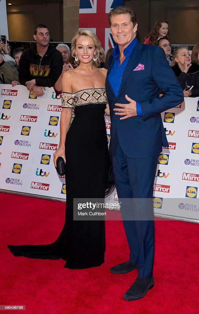 David Hasselhoff and Hayley Roberts attend the Pride of Britain awards at The Grosvenor House Hotel on September 28, 2015 in London, England.