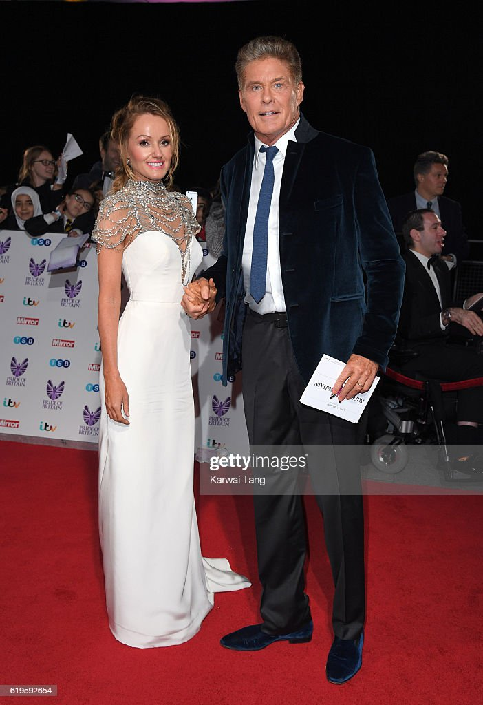David Hasselhoff and Hayley Roberts attend the Pride Of Britain Awards at The Grosvenor House Hotel on October 31, 2016 in London, England.