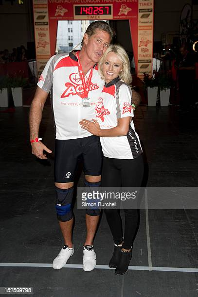 David Hasselhoff and Hayley Roberts compete in the Virgin Active London Triathlon at ExCel on September 22 2012 in London England