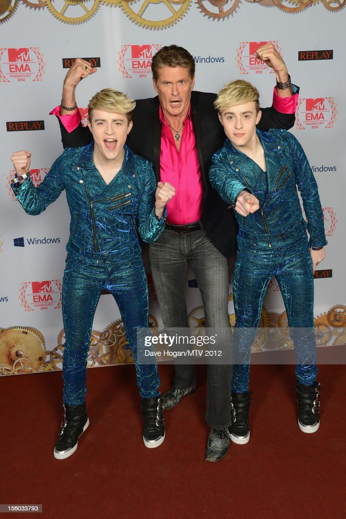 <a gi-track='captionPersonalityLinkClicked' href=/galleries/search?phrase=David+Hasselhoff&family=editorial&specificpeople=209380 ng-click='$event.stopPropagation()'>David Hasselhoff</a> (C) and Jedward attend the MTV EMA's 2012 at Festhalle Frankfurt on November 11, 2012 in Frankfurt am Main, Germany.