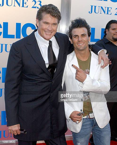 David Hasselhoff and Jeremy Jackson during 'Click' Los Angeles Premiere Arrivals at Mann Village Theatre in Westwood California United States