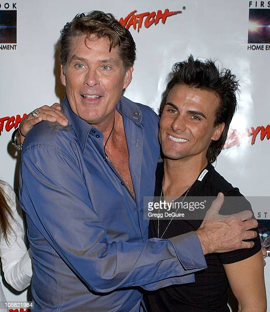 David Hasselhoff and Jeremy Jackson during Pamela Anderson Hosts DVD Release Of 'Baywatch' Seasons One And Two Arrivals at Casa Del Mar in Santa...