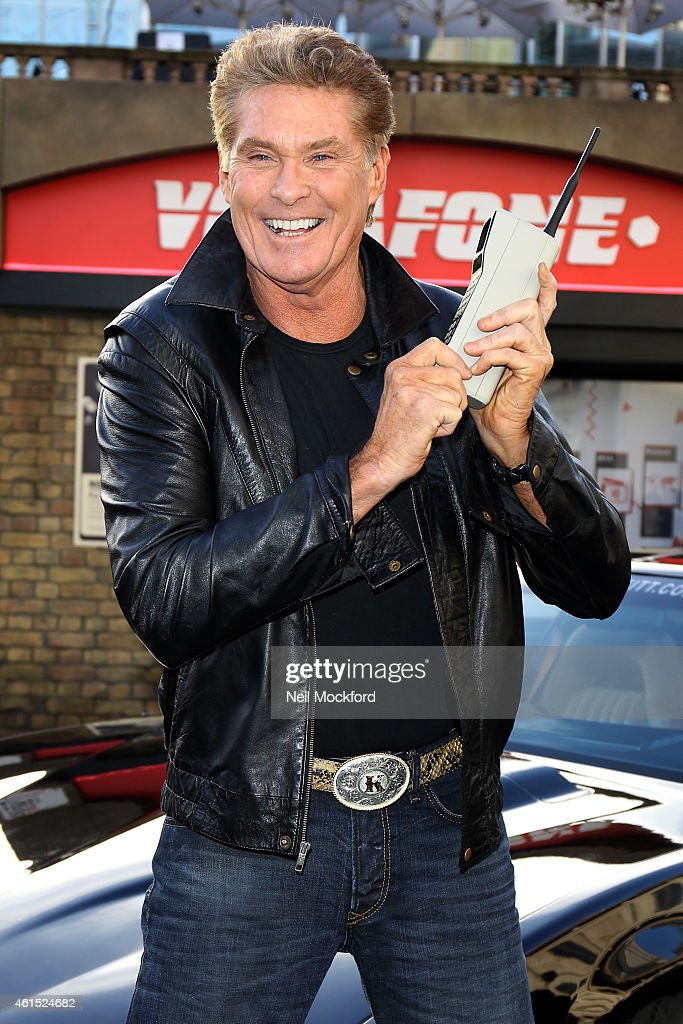 David Hasselhoff and KITT attend a photocall to launch 1984G Street, a 1980's inspired pop up at Covent Garden on January 14, 2015 in London, England. The pop up celebrates 30 years since the first mobile phone call.