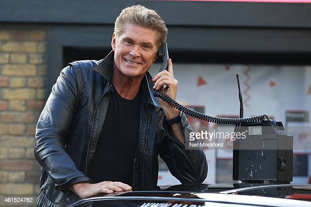 David Hasselhoff and KITT attend a photocall to launch 1984G Street a 1980's inspired pop up at Covent Garden on January 14 2015 in London England...