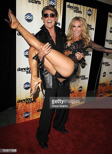 David Hasselhoff and Kym Johnson attend 'Dancing With The Stars' Season Premiere at CBS Studios on September 20 2010 in Los Angeles California