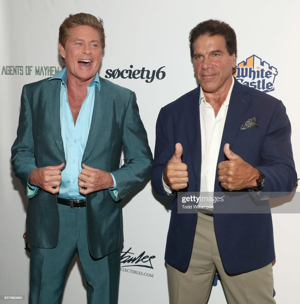 David Hasselhoff and Lou Ferrigno attend Extraordinary: Stan Lee at Saban Theatre on August 22, 2017 in Beverly Hills, California.