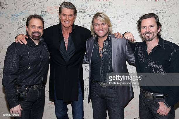 David Hasselhoff and singers John Hagen Marcus Collins and JC Fisher of The Texas Tenors pose backstage at the Desert Symphony's 25th Anniversary...