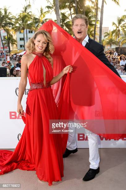 David Hasselhoff and wife Hayley Roberts attends Paramount Pictures' World Premiere of 'Baywatch' on May 13 2017 in Miami Florida
