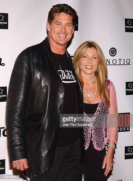 David Hasselhoff and wife Pamela Bach during Von Dutch Designer Christian Audigier's Birthday Celebration at Private residence in Hollywood...