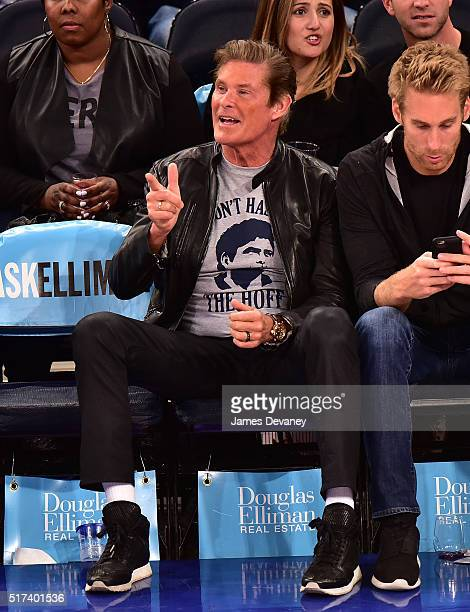 David Hasselhoff attends the Chicago Bulls vs New York Knicks game at Madison Square Garden on March 24 2016 in New York City
